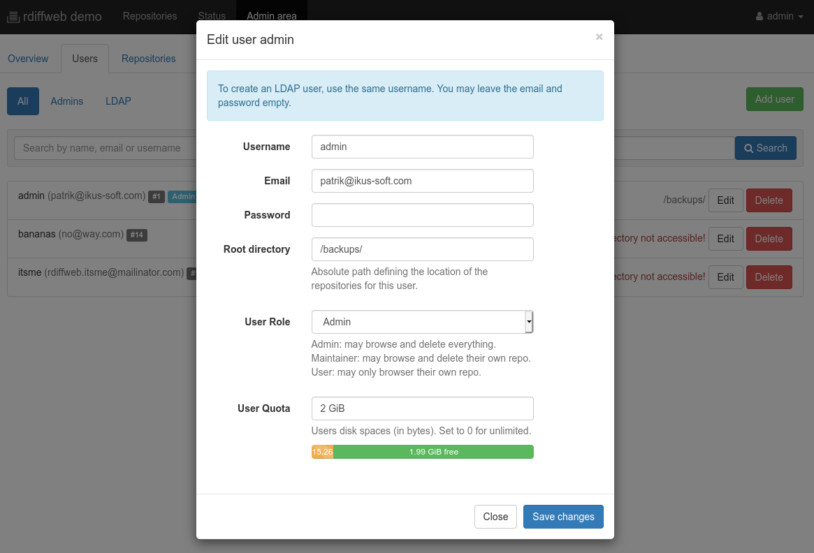 User quota editable in admin view