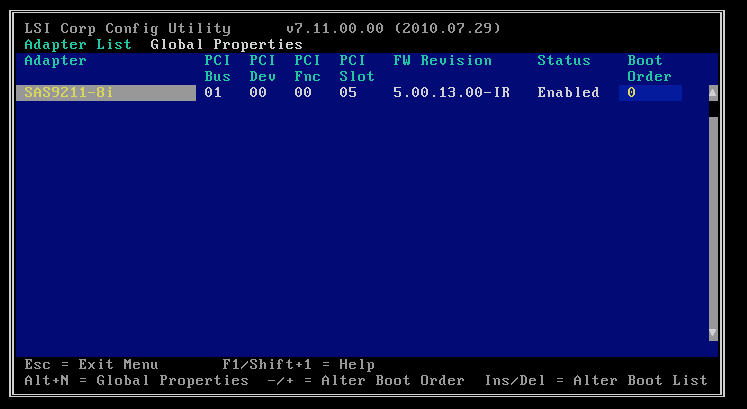 LSI BIOS Config Utilities screen
