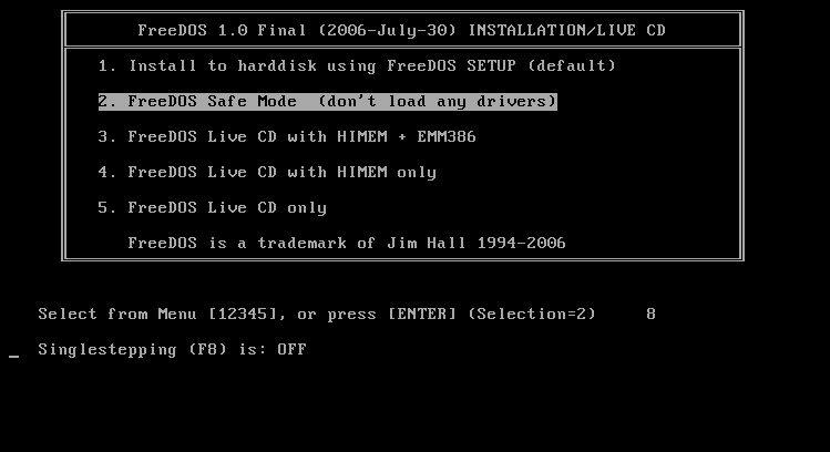 FreeDOS booting screen